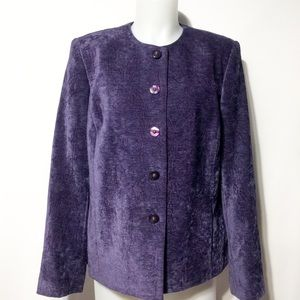Vintage Purple Rayon Blend Lined Jacket Blazer 12